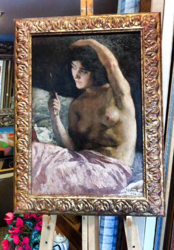 ציור שמן קלאסי במסגרת אימפרסיוניסטית באופיה.